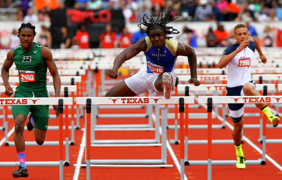 Beaumont Ozen's Tony Brown clears the hurdle during the 4A Boys 110 hurdle at the state track meet at Mike A. Myers Stadium in Austin Friday, May 10, 2013, in Austin. Photo: Cody Duty, Houston Chronicle / © 2013 Houston Chronicle