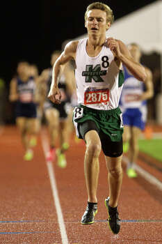 Houston Kingwood Park's Michael Lindberg sprints to finish setting a new record during the 4A Boy's 1600 Meter Run during the UIL High School State Track Meet at Mike A. Myers Stadium Friday, May 10, 2013, in Austin. Photo: Cody Duty, Houston Chronicle / © 2013 Houston Chronicle