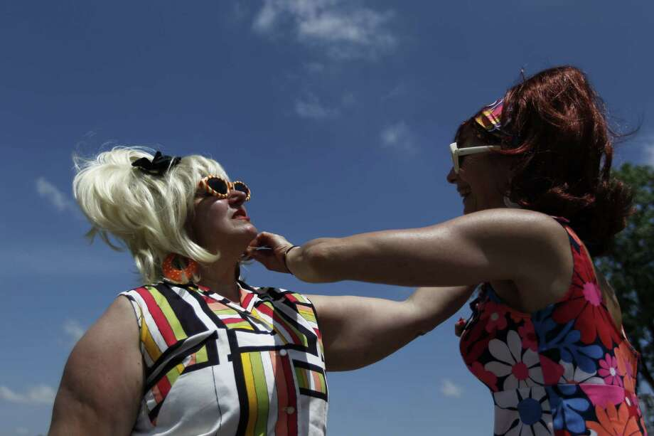 Marlene Iacoviello, left and Jana Jordan at the Art Car Parade on Saturday. Photo: Johnny Hanson/Chronicle