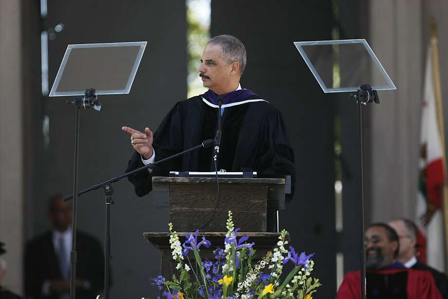 U.S. Attorney General Eric Holder speaks to Berkeley Law School graduates during their commencement ceremony. Photo: James Tensuan, The Chronicle
