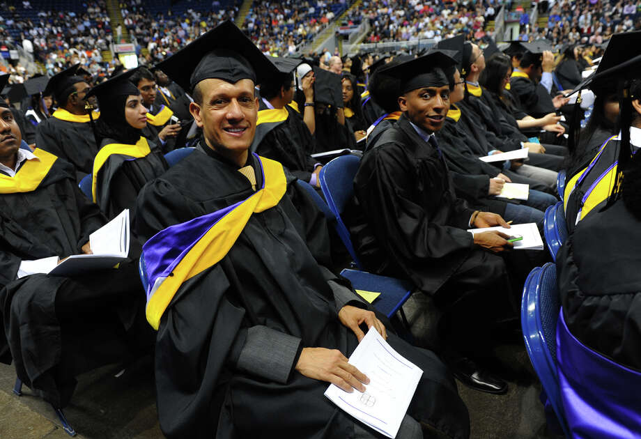 University of Bridgeport graduate Haitem Hashem, during the school's 103rd Commencement Ceremony held at the Webster Bank Arena in Bridgeport, Conn. on Saturday May 11, 2013. Photo: Christian Abraham / Connecticut Post