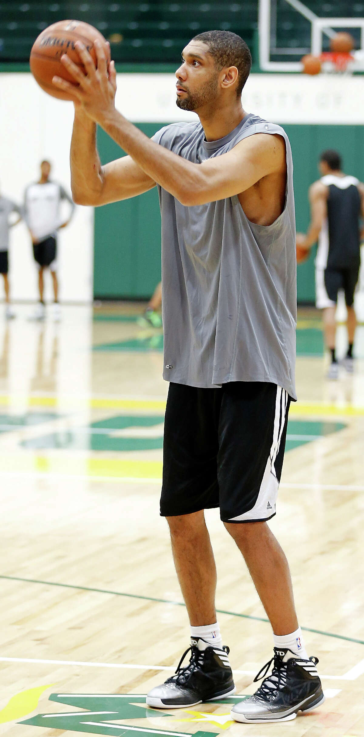 San Antonio Spurs' Tim Duncan shoots during practice Saturday May 11, 2013 at the War Memorial Gymnasium on the University of San Francisco campus in San Francisco, CA