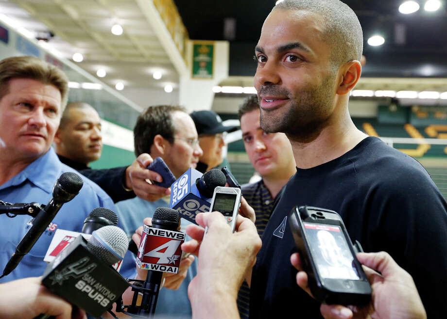 San Antonio Spurs' Tony Parker answers questions from the media during practice Saturday May 11, 2013 at the War Memorial Gymnasium on the University of San Francisco campus in San Francisco, CA Photo: Edward A. Ornelas, San Antonio Express-News / © 2013 San Antonio Express-News