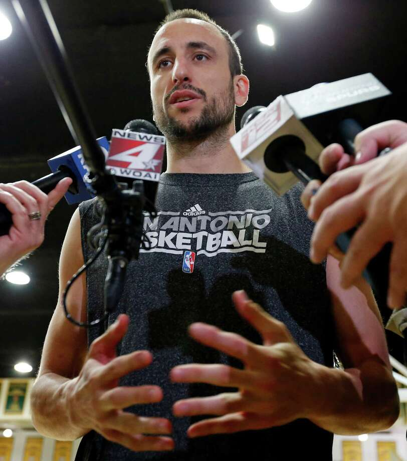 San Antonio Spurs' Manu Ginobili answers questions from the media during practice Saturday May 11, 2013 at the War Memorial Gymnasium on the University of San Francisco campus in San Francisco, CA Photo: Edward A. Ornelas, San Antonio Express-News / © 2013 San Antonio Express-News