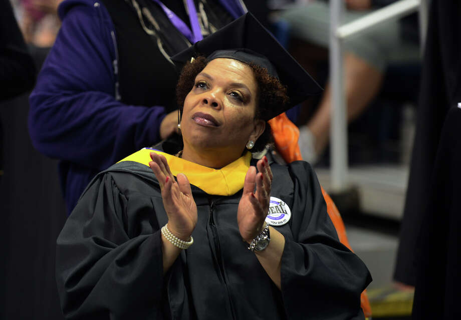 University of Bridgeport graduate Sandra Wright, during the school's 103rd Commencement Ceremony held at the Webster Bank Arena in Bridgeport, Conn. on Saturday May 11, 2013. Photo: Christian Abraham / Connecticut Post