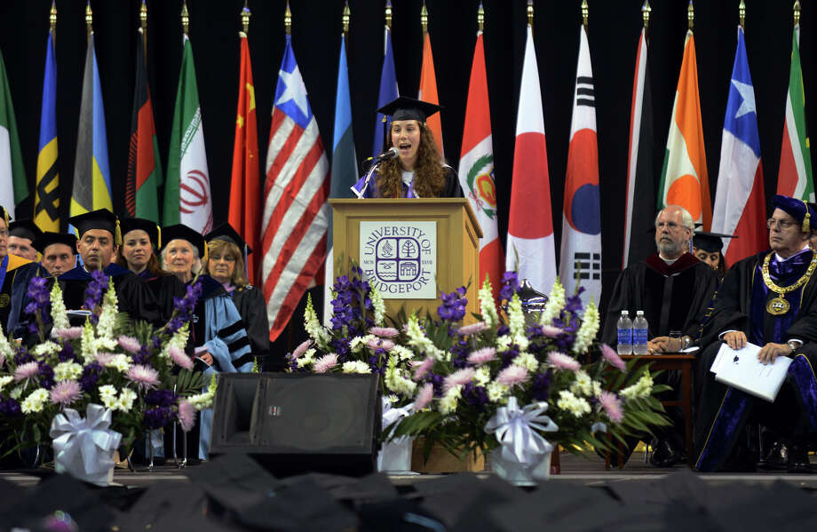 University of Bridgeport Senior Class Speaker Tasnah Young Sun Martinez, during the school's 103rd Commencement Ceremony held at the Webster Bank Arena in Bridgeport, Conn. on Saturday May 11, 2013. Photo: Christian Abraham / Connecticut Post