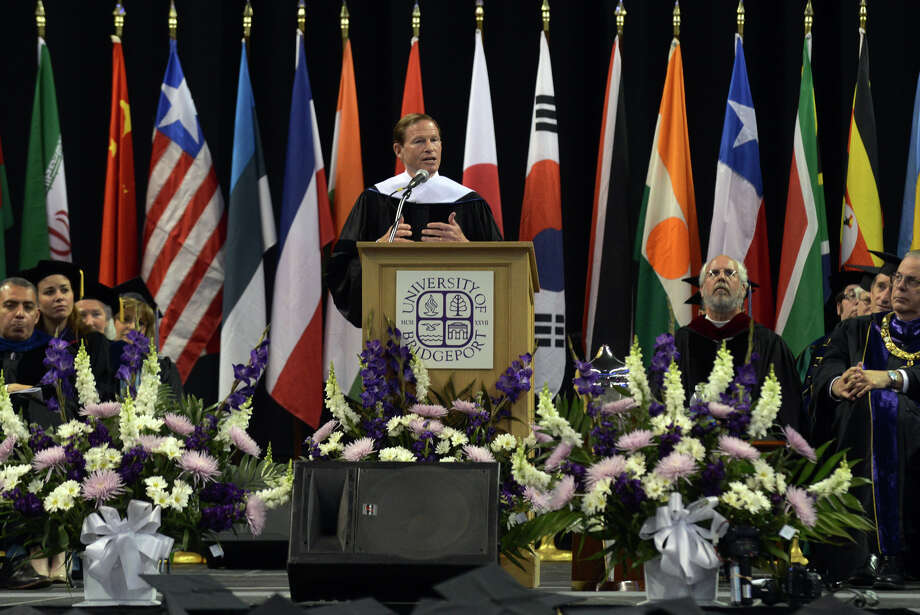 Senator Richard Blumenthal speaks at University of Bridgeport's 103rd Commencement Ceremony held at the Webster Bank Arena in Bridgeport, Conn. on Saturday May 11, 2013. Photo: Christian Abraham / Connecticut Post