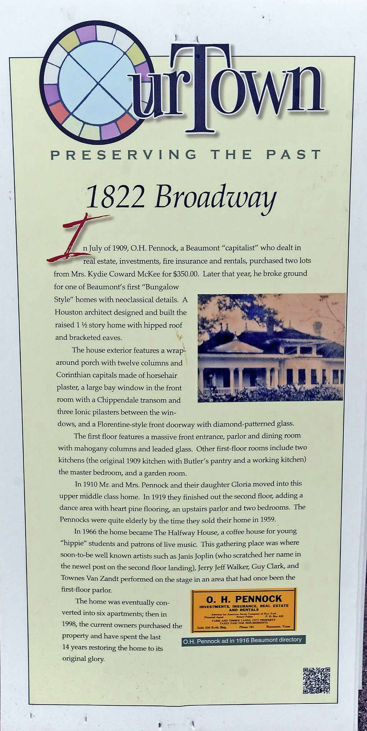 1822 BROADWAY In July of 1909, O.H. Pennock, a Beaumont