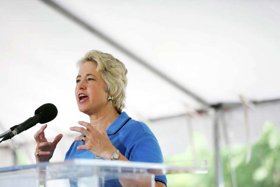 Houston mayor, Annise Parker, speaks to a gathered crowd of supporters, Saturday, May 11, 2013 during a rally to officially announce her run for a third mayoral term, at Stude park in Houston, Texas. Photo: Todd Spoth, For The Chronicle / © TODD SPOTH, 2013