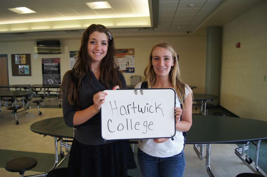 Miranda Cookingham and Brittany Sutliff going to Hartwick College. Photo by Rosa D'Ambrosio.