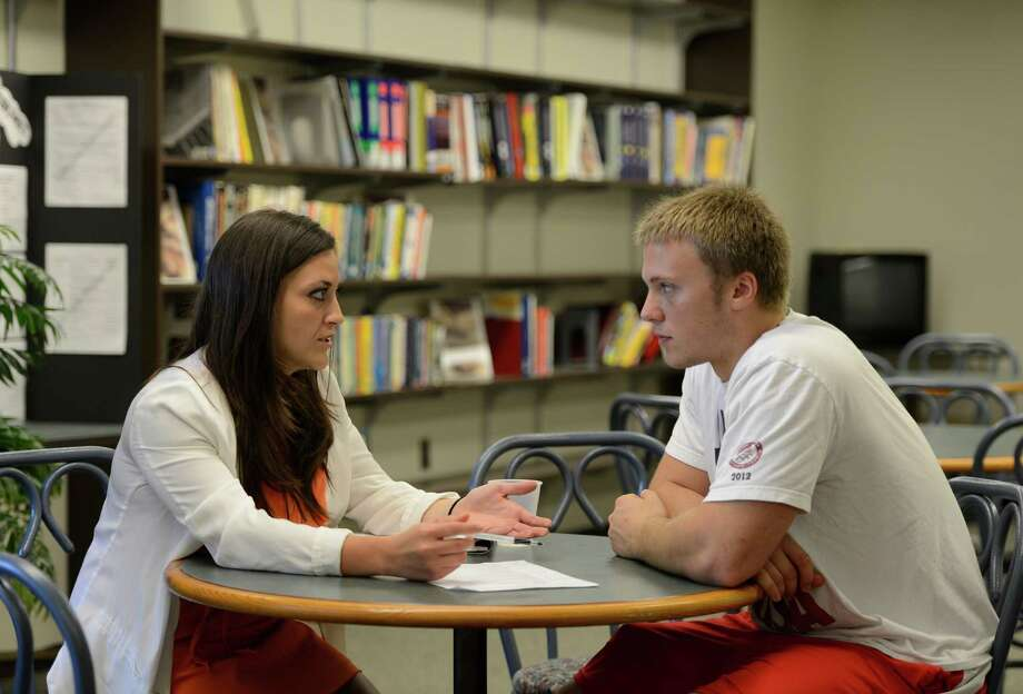 Christina Rizio, career counsilor. left, works with student Kyle Hash in the Career Development Office May 10, 2013 at RPI in Troy, N.Y.      (Skip Dickstein/Times Union) Photo: SKIP DICKSTEIN / 00022373A
