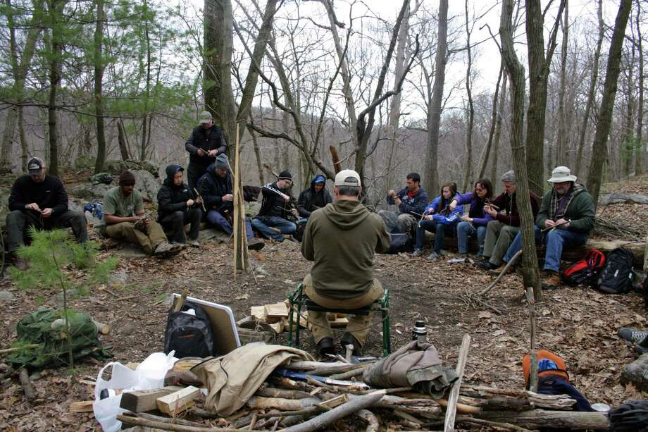Shane Hobel teaches students wilderness survival and preparedness at the Mountain Scout Survival School in Putnum County. (Kristen V. Brown/Times Union)