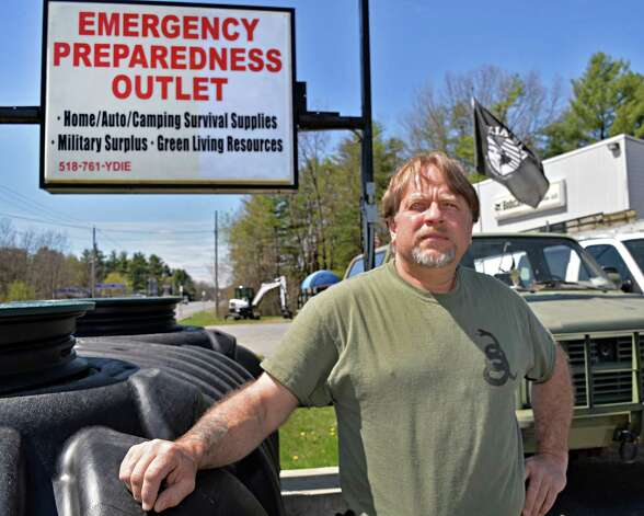 Dan Coton outside his his Y Die Emergency Preparedness shop in Gansevoort, NY TUESDAY APRIL 30, 2013.  (John Carl D'Annibale / Times Union) Photo: John Carl D'Annibale / 10022208A