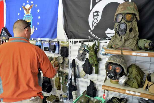 Gas masks on display at Y Die Emergency Preparedness shop in Gansevoort, NY TUESDAY APRIL 30, 2013.  (John Carl D'Annibale / Times Union) Photo: John Carl D'Annibale / 10022208A