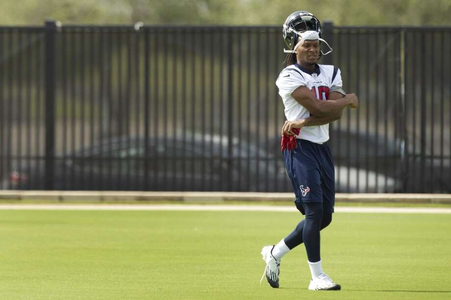 Wide receiver DeAndre Hopkins looks on during practice.
