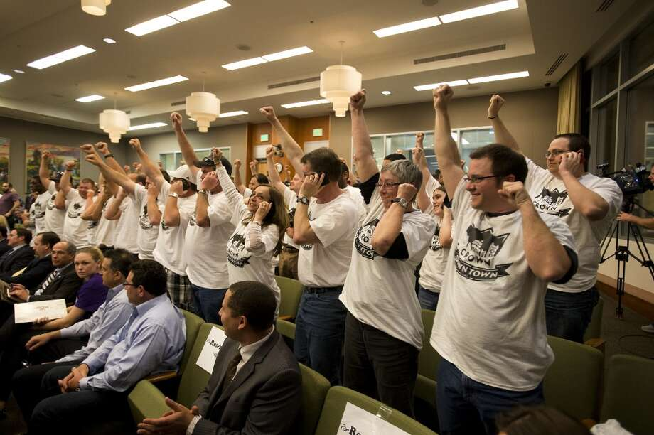 March 26, 2013: At the end of a four-hour meeting, the Sacramento City Council approves 7-2 the financing term sheet for construction of a new arena complex in downtown SacTown. ''We want the folks of Seattle to get a team -- we wish them well -- but we want to keep what's ours,'' Mayor Kevin Johnson said after the vote.