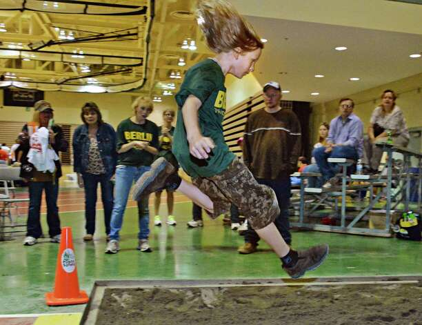 Eleven-year-old Max Mead, of Stephentown, competes in the long jump at the Special Olympics Spring Games South at HVCC's McDonough Sports Complex in Troy, NY Saturday May 11, 2013.  (John Carl D'Annibale / Times Union) Photo: John Carl D'Annibale / 00022371A
