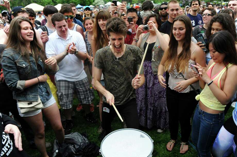 Gary Larsen of Royal Teeth drums among the audience during their performance on the main stage during the Tulip Festival on Saturday, May 11, 2013, at Washington Park in Albany, N.Y. (Cindy Schultz / Times Union) Photo: Cindy Schultz / 00022344A