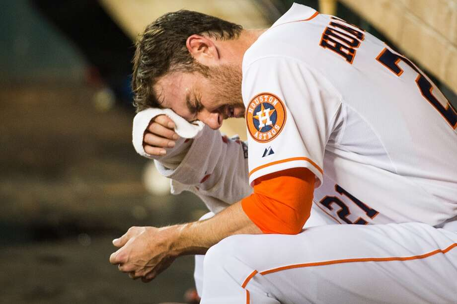 Astros pitcher Philip Humber reacts to a rough outing in the dugout. Humber gave up five runs on five hits while lasting just 2/3 of an inning. Photo: Smiley N. Pool, Houston Chronicle