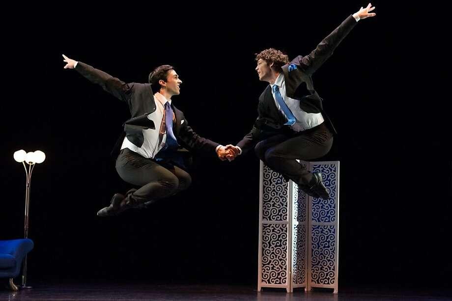 "The Oakland Ballet's Gregory DeSantis (left) and Christopher Moulton in Amy Seiwert's ""Les Biches."" Photo: David DeSilva, Oakland Ballet"