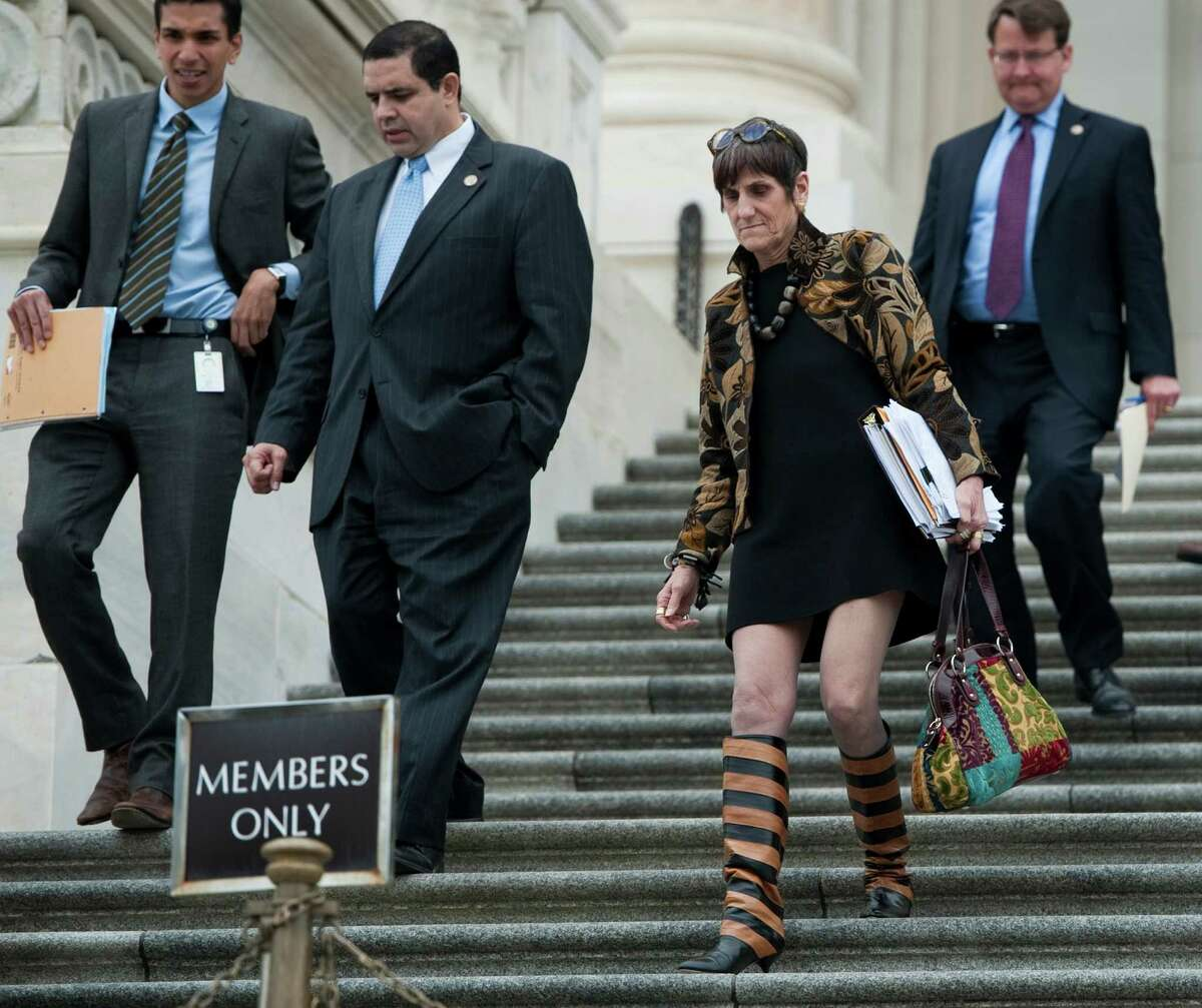 Rep. Rosa DeLauro, D-Conn., center, walks down the House steps as Congress wraps up a series of votes in the Capitol on Friday, May 13, 2011.