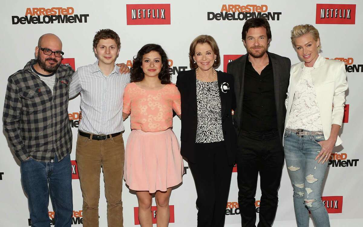 UNIVERSAL CITY, CA - MAY 04: (L-R) Actors David Cross, Michael Cera, Alia Shawkat, Jessica Walter, Jason Bateman and Portia de Rossi attend The Netflix Original Series