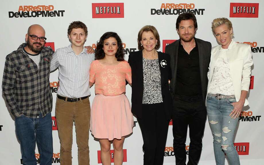 "UNIVERSAL CITY, CA - MAY 04:  (L-R) Actors David Cross, Michael Cera, Alia Shawkat, Jessica Walter, Jason Bateman and Portia de Rossi attend The Netflix Original Series ""Arrested Development"" Press Conference at Sheraton Universal on May 4, 2013 in Universal City, California.  (Photo by Jesse Grant/Getty Images for Netflix) Photo: Jesse Grant, Getty Images For Netflix / 2013 Getty Images"