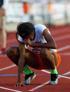 Fort Bend Bush's Jarra Owens reacts after the 5A Girls 400 Meter Dash during the UIL High School State Track Meet at Mike A. Myers Stadium Saturday, May 11, 2013, in Austin. Photo: Cody Duty, Houston Chronicle / © 2013 Houston Chronicle