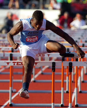 Elsik Rams Ishmael Zamora runs the 5a Boys 110 Meter Hurdles during the UIL High School State Track Meet at Mike A. Myers Stadium Saturday, May 11, 2013, in Austin. Photo: Cody Duty, Houston Chronicle / © 2013 Houston Chronicle