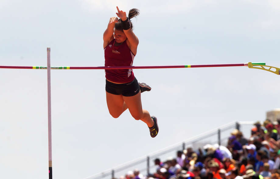 Cy-Woods Monica McClellan competes during the 5A Girls Pole Vault during the UIL High School State Track Meet at Mike A. Myers Stadium Saturday, May 11, 2013, in Austin. Photo: Cody Duty, Houston Chronicle / © 2013 Houston Chronicle