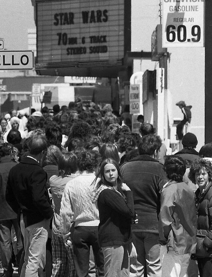"May 25, 1977: Fans line up during opening weekend to see ""Star Wars"" at the Coronet Theatre in San Francisco. The Geary Boulevard movie house seated close to 2,000 and became a Mecca for the ""Star Wars"" films, before it was demolished in 2007. Photo: Gary Fong, The Chronicle"