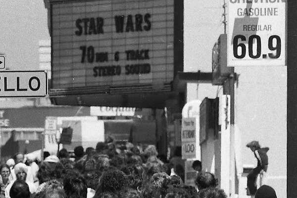 "May 25, 1977: Fans line up during opening weekend to see ""Star Wars"" at the Coronet Theatre in San Francisco. The Geary Boulevard movie house seated close to 2,000 and became a Mecca for the ""Star Wars"" films, before it was demolished in 2007."