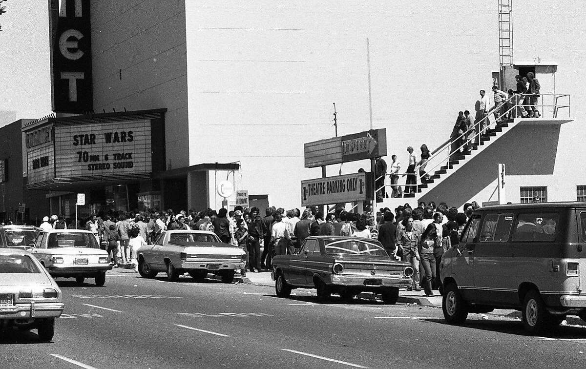 """May 25, 1977: Fans line up during opening weekend to see """"Star Wars"""" at the Coronet Theatre in San Francisco. The Geary Boulevard movie house seated close to 2,000 and became a Mecca for the """"Star Wars"""" films, before it was demolished in 2007."""