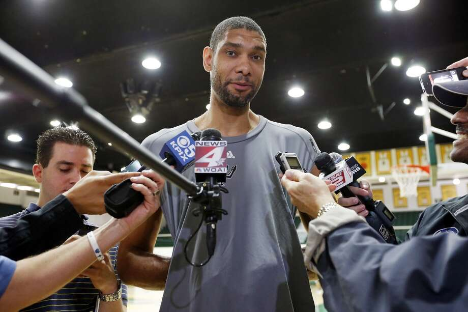 The Spurs' Tim Duncan answers questions from the media during practice Saturday, May 11, 2013, at the War Memorial Gymnasium on the University of San Francisco campus in San Francisco, Calif.