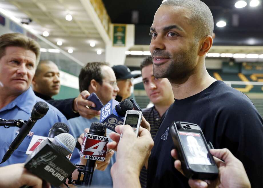 The Spurs' Tony Parker answers questions from the media during practice Saturday, May 11, 2013, at the War Memorial Gymnasium on the University of San Francisco campus in San Francisco, Calif.