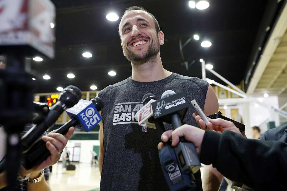 The Spurs' Manu Ginobili answers questions from the media during practice Saturday, May 11, 2013, at the War Memorial Gymnasium on the University of San Francisco campus in San Francisco, Calif.