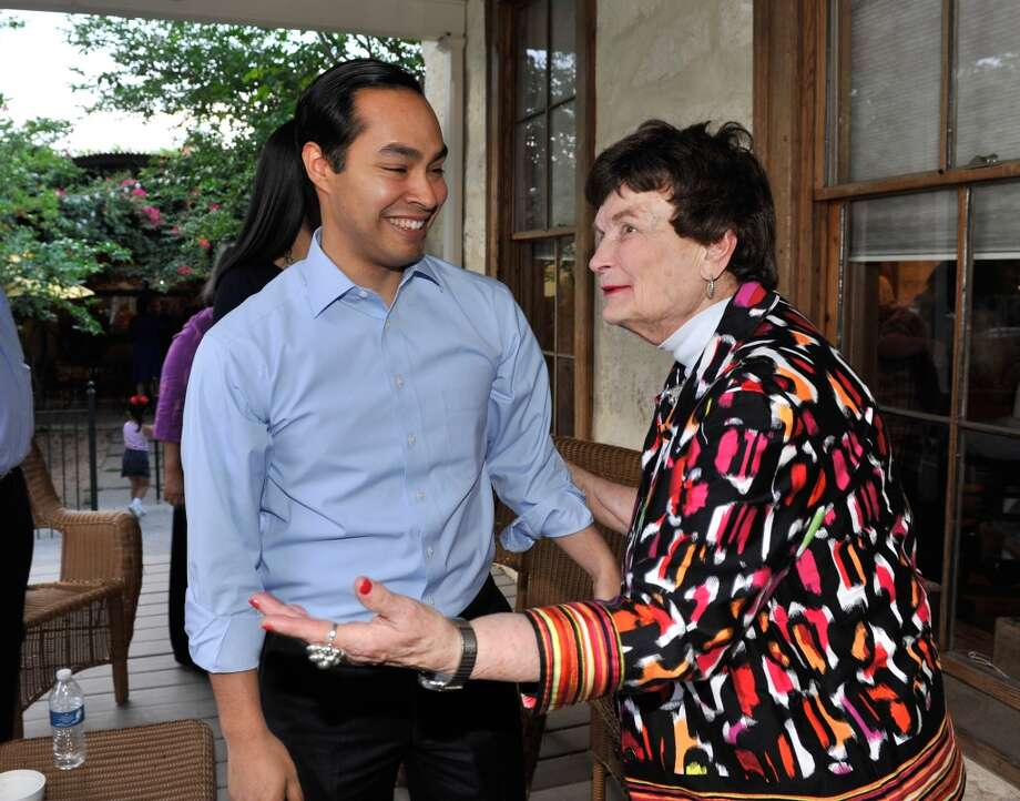Mayor Julian Castro chats with former Mayor Lila Cockrell during an election night rally Saturday evening.
