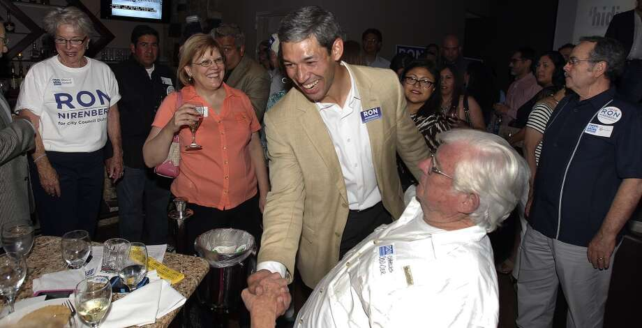 Ron Nirenberg is congratulated at his election night party at Franco's  on May 11, 2013.