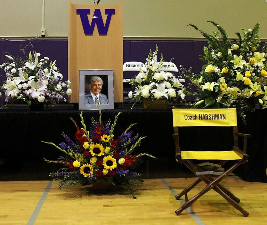 A portrait of former Washington basketball coach Marv Harshman and an empty chair with his name are front and center at the public memorial for the beloved coach, Saturday, May 11, 2013, at the practice facility named for him at the University of Washington in Seattle. Harshman, who spent 40 years coaching in the sate and was enshrined in the Basketball Hall of Fame in 1985 died in April. He was 95.  Photo: Alan Berner, Associated Press