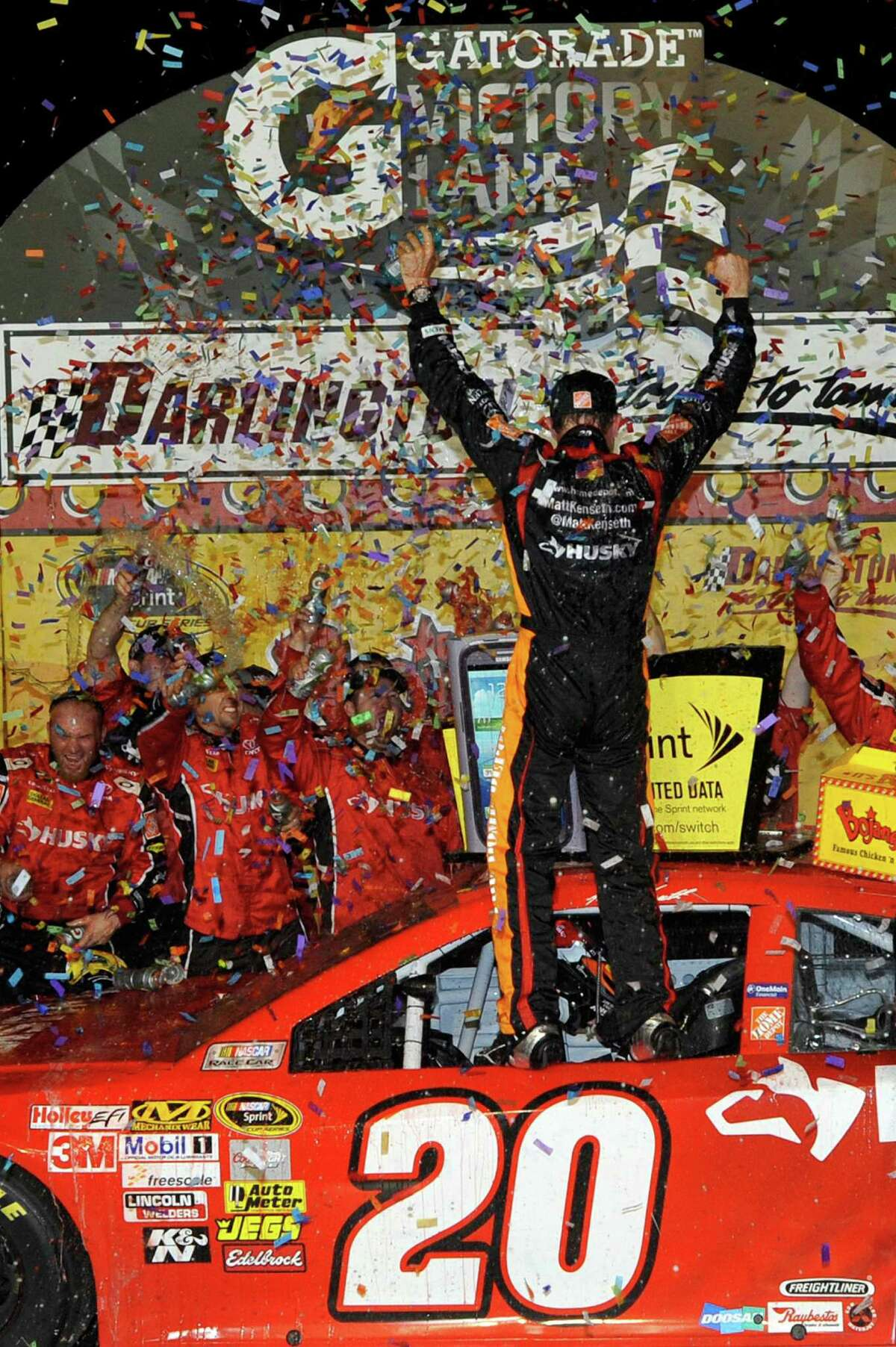 Matt Kenseth celebrates with his crew in victory lane after winning the Southern 500 in Darlington, S.C., on Saturday, his 27th career win.