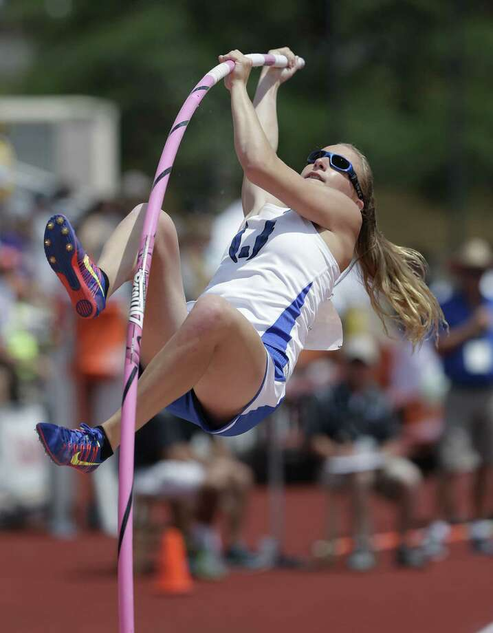 Emory Rains' Charlotte Brown, who is legally blind, finished eighth in the Class 3A girls pole vault at the UIL state track and field meet at Myers Stadium. Brown cleared 10 feet, 6 inches. Photo: Eric Gay / Associated Press