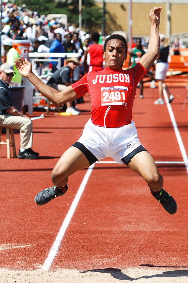 Judson freshman Angelo Gordon captured gold in the triple jump with a leap of 49 feet, 2 inches during Saturday's UIL state track and field meet. Photo: Marvin Pfeiffer / San Antonio Express-News