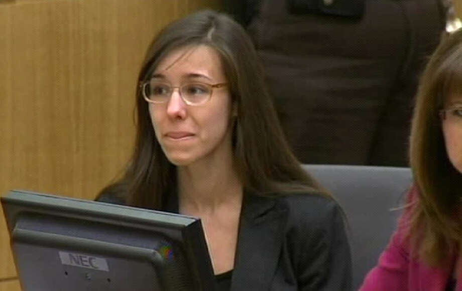 In this image made from pool video provided by APTN, Jodi Arias reacts during the reading of the verdict at Maricopa County Superior Court in Phoenix, Wednesday, May 8, 2013. Arias was convicted of first-degree murder in the gruesome killing of her one-time boyfriend in Arizona after a four-month trial that captured headlines with lurid tales of sex, lies, religion and a salacious relationship that ended in a blood bath. Photo: AP