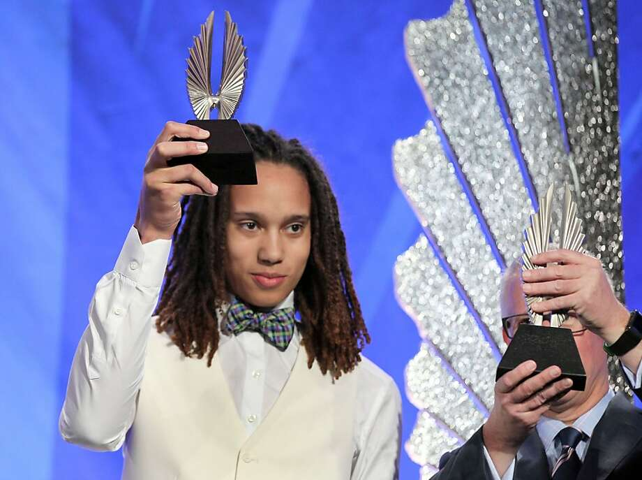 L to R Brittney Griner professional basketball player and Kevin McClatchy former owner of the Pittsburgh Pirates hold up their trophies at the annual GLAAD media awards Saturday, May 11, 2013 in San Francisco, Calif. Photo: Lance Iversen, The Chronicle