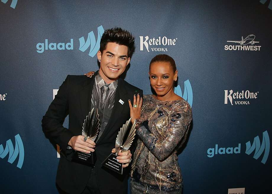 Adam Lambert, Mel B aka Melanie Brown pose for a photo during the 24th Annual GLAAD Media Awards at the Hilton San Francisco - Union Square on May 11, 2013 in San Francisco, California. Lambert received the 2013 Davidson/Valentini Award  (Photo by John Medina/WireImage) Photo: John Medina, WireImage