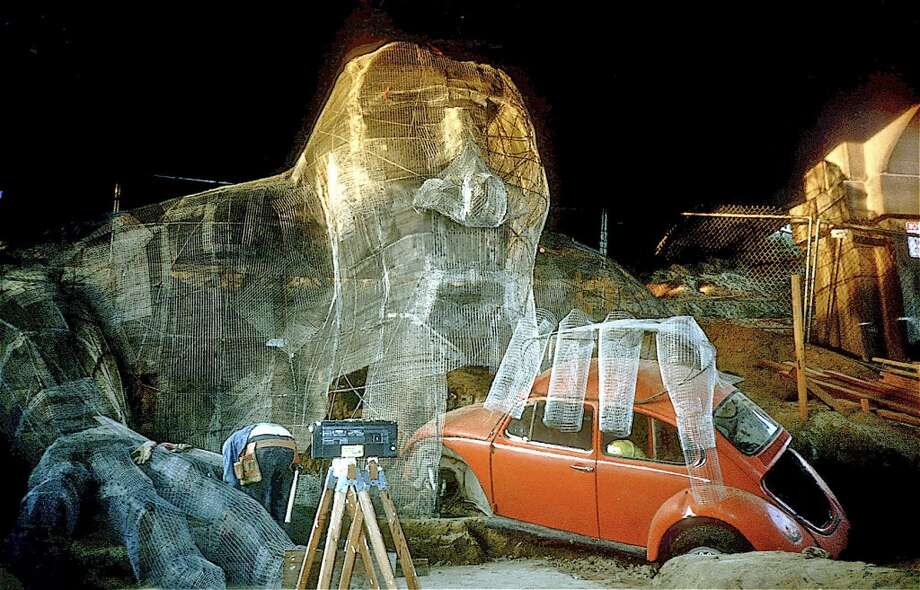 The wire mesh structure of the Troll and the VW.   (Photo courtesy of Michael Falcone and 'The Hall of Giants')