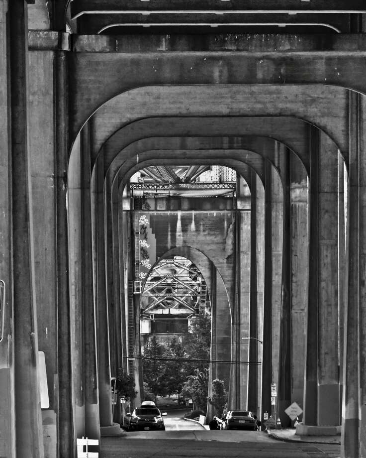 Beneath the Aurora Bridge.  (Photo by Allen Sheffield and courtesy of Michael Falcone and 'The Hall of Giants')