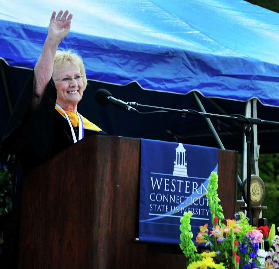 Newtown First Selectman E. Patricia waves as she speaks as the class of 2013 graduates during Western Connecticut State University's 115th Commencement Exercises in Danbury, Conn. Sunday, May 12, 2013. Photo: Michael Duffy / The News-Times