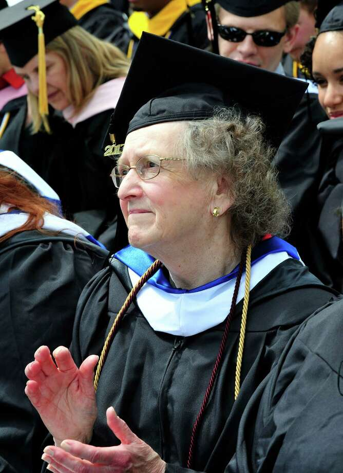 Florence Pilkington, 83, is one the class of 2013 graduates at Western Connecticut State University's 115th Commencement Exercises in Danbury, Conn. Sunday, May 12, 2013. Photo: Michael Duffy / The News-Times