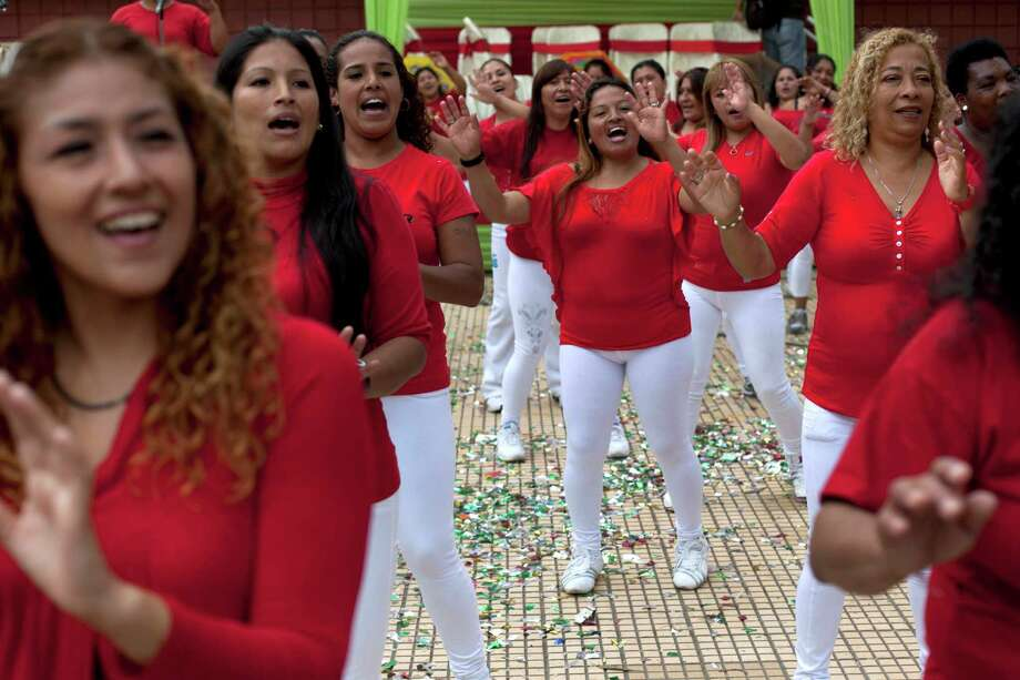 Inmates perform at an event marking Mother's Day inside a prison for women in Lima, Peru, Friday, May 10, 2013. Peru celebrates Mother's Day every May 10. Photo: Martin Mejia, Associated Press / AP